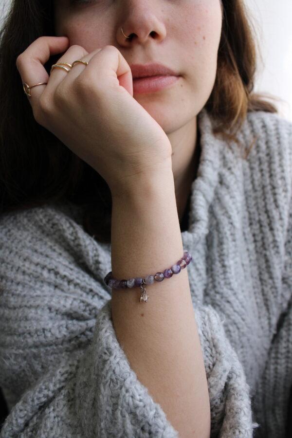 Cutting Amethyst Bracelet 6mm